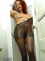 aPantyhose - Sexy legs shapes in wet black pantyhose in the bath