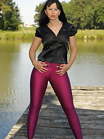 Black haired MILF in a purple pants
